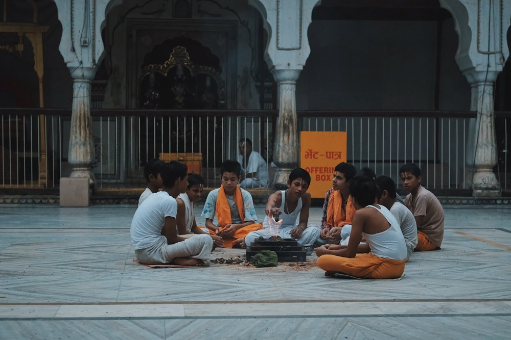 Spiritual Companions and Morning Songs. Young monks at Shri Galtaji, Inspired India 2018. Photography by Precious LaPlante.