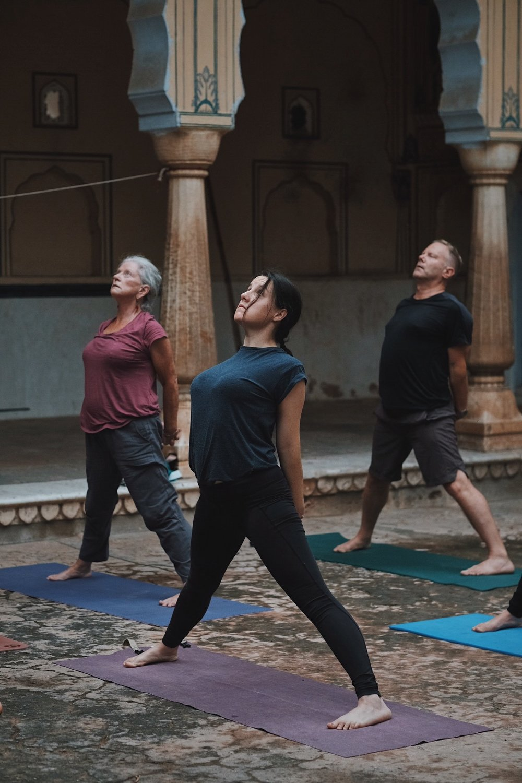 Prasarita Padottanasana preparation vinyasa. Yoga at Galtaji, Inspired India 2018. Photography by Precious LaPlante.