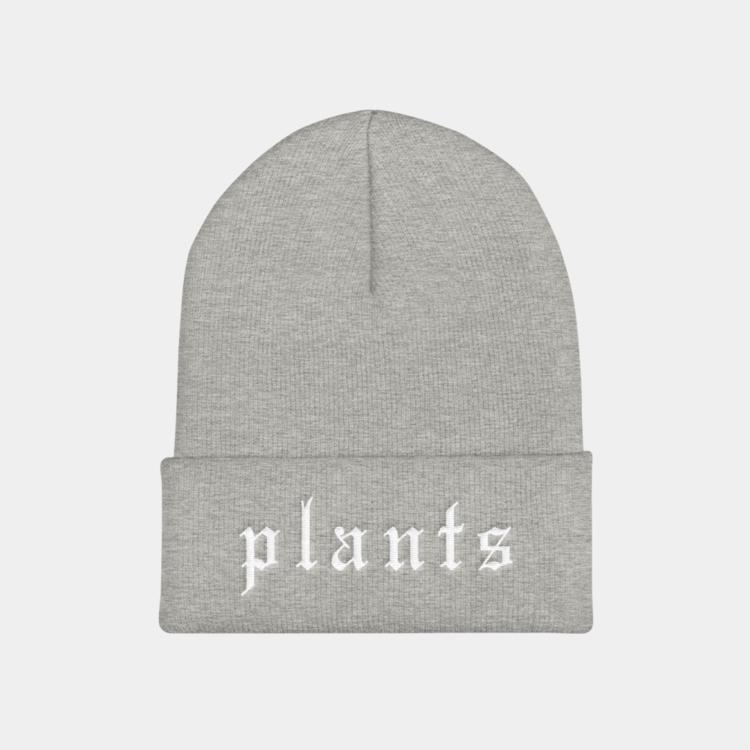 Plants Blackletter Unisex Cuffed Vegan Beanie Hat  8888c1b2e01