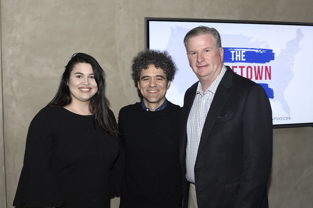 Political Director at People for the American Way Lizet Ocampo with Founder of The Hometown Project Peter Salett and President of People for the American Way Michael Keegan.