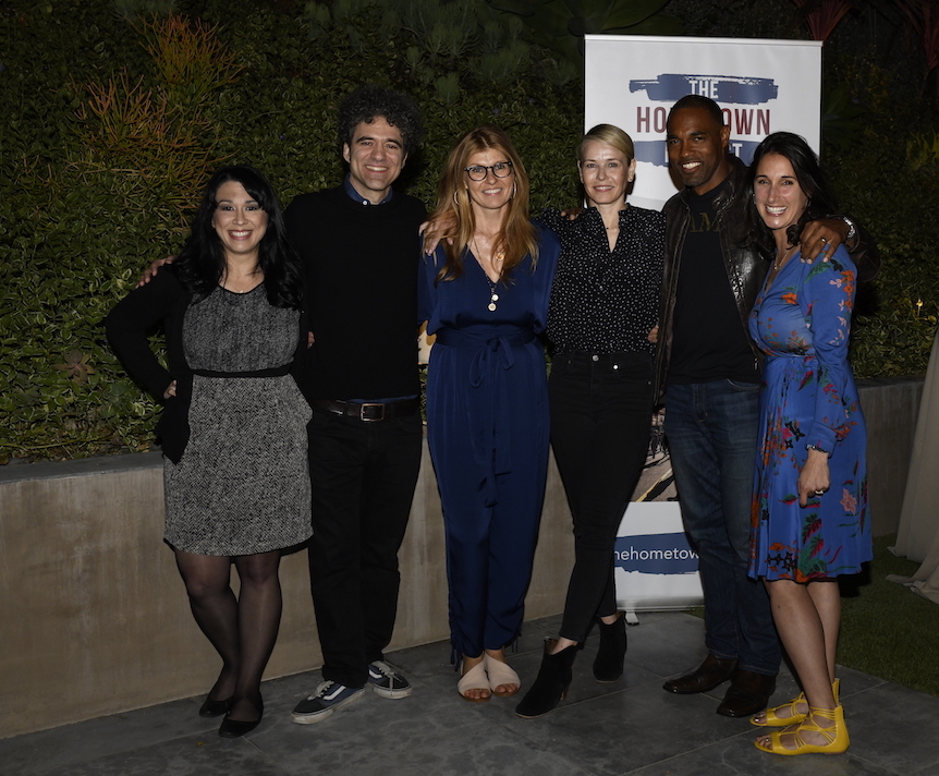 Virginia Delegate Kelly Fowler, The Hometown Project Founder Peter Salett, Advisory Board Member Connie Britton, Host Chelsea Handler, Energizer and Advisory Board Member Jason George and The Hometown Project Executive Director Erin Frederick.
