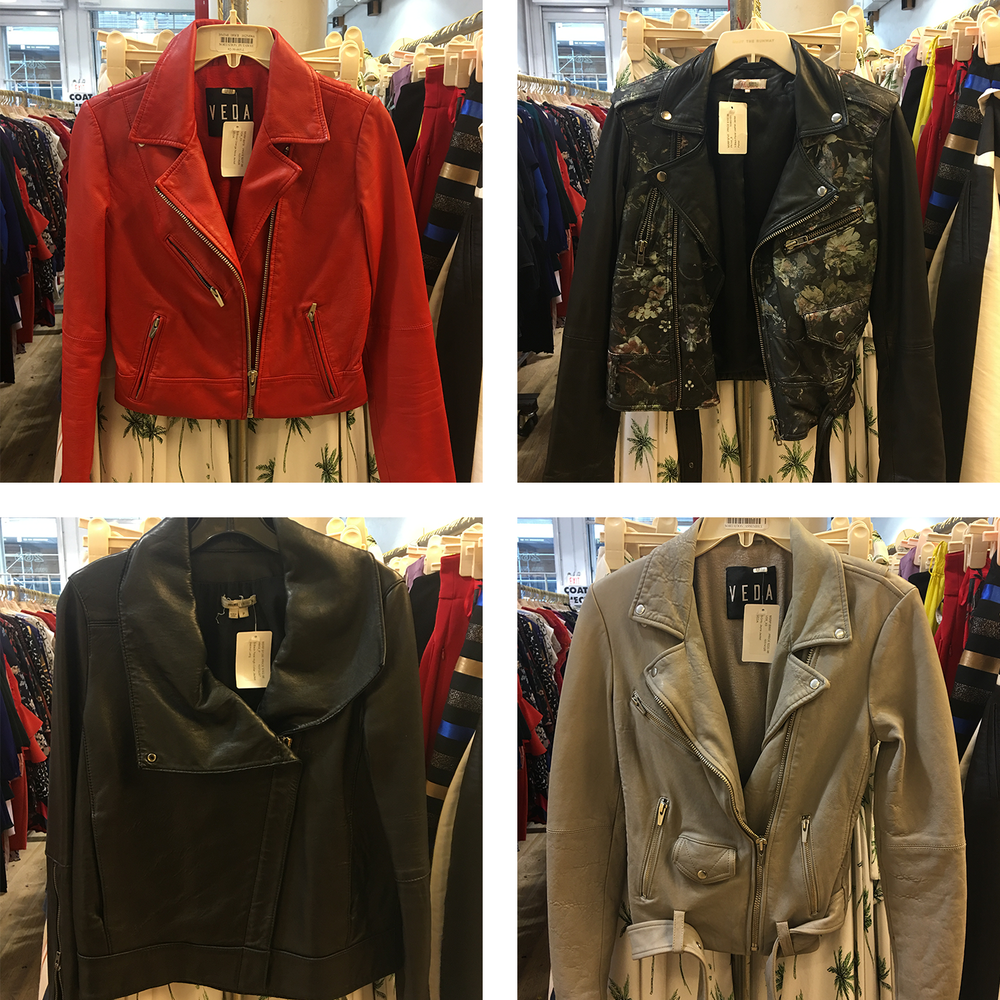 Clockwise from top, jackets by: Veda, Parker New York, Veda, and Helmut Lang
