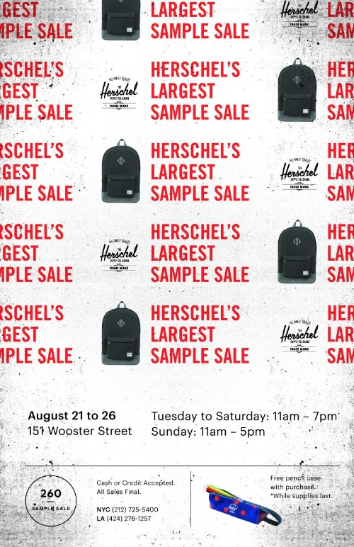 HSC nysample PR.jpg. 260NYC is excited to welcome the Herschel Supply  Company Sample Sale ... 81b21ac2235f0