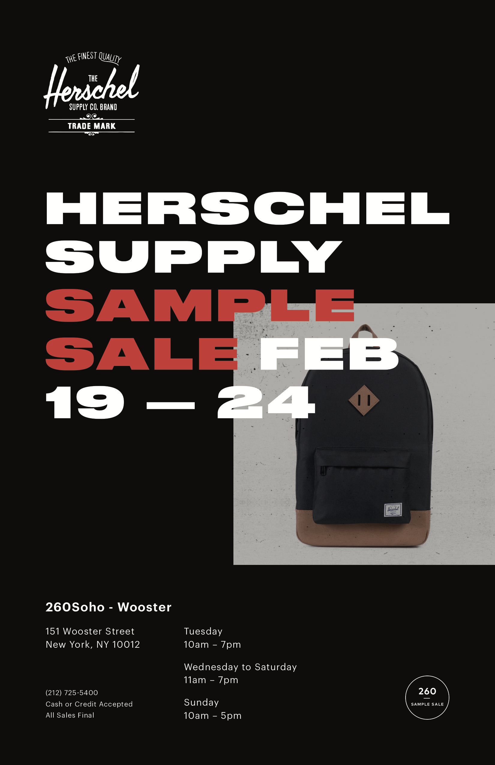 618c8399236a PRESS RELEASE HSC S1 19 NY SAMPLE SALE .png. 260Soho is excited to welcome  back the Herschel Supply Company Sample Sale ...