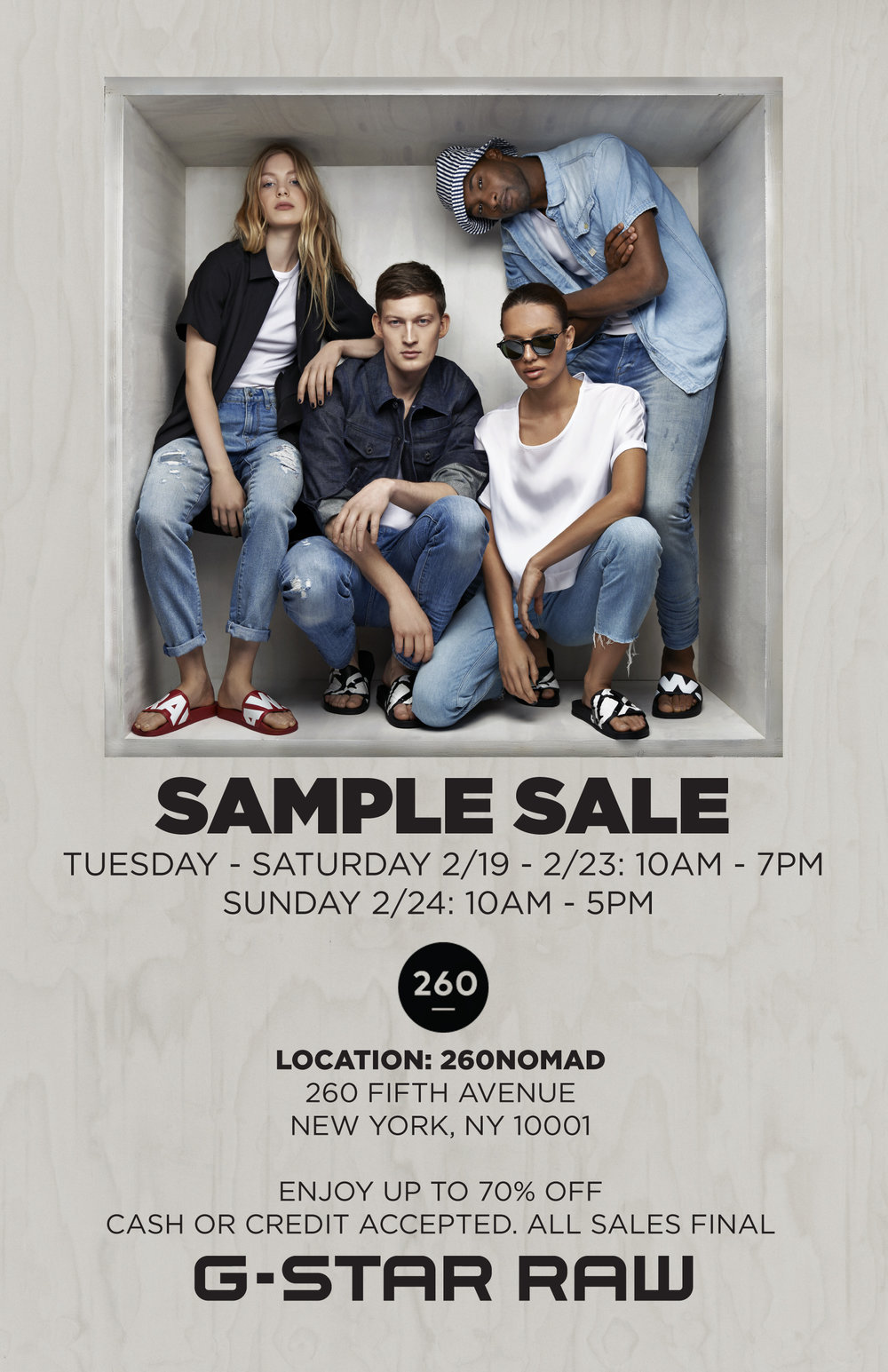 d2734860ba PRESS_RELEASE-GStar_Fall_Warehouse-Sale_260NYC-FW19.jpg. 260 Sample Sale ...