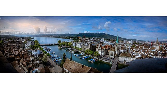 A panoramic view on Zürich taken from the top of Grossmünster