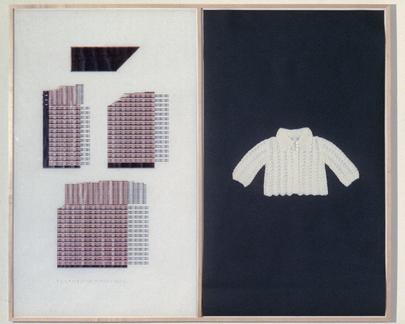 Laura's Sweater . One of four components of  Laura's Layette . 1979. Colored pencil on paper, and knitted cotton yarn. 52 x 62 in. (132.1 x 157.5 cm)