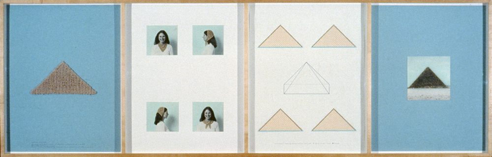 Elaine Reichek.  Pyramid.  1982. Knitted cotton yarn, oil on photographs, colored pencil, and ink on paper. 27 1/2 in. x 7 ft. 1/4 in. (84.3 x 214 cm)