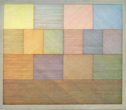 Sol Lewitt.  15-part Drawing Using Four Colours and All Variation Plan  (1970)