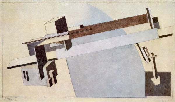 """El Lissitzky. """"Proun 1 A, Bridge I."""" 1919."""