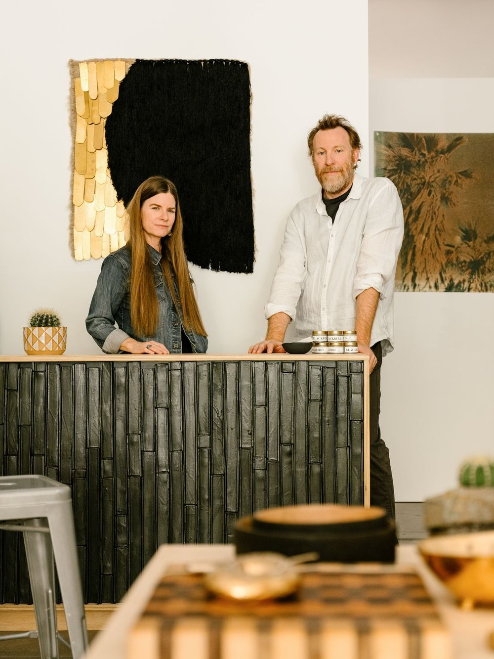 Jamie and Brian Bosworth at their new Palm Springs art boutique, BKB Handcrafted (Photo: Lance Gerber/DESERT magazine)