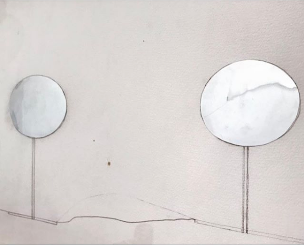 Sarah Vanderlip Study for Untitled (Double Ellipses), 2018 Aluminum and mirror-polished stainless steel