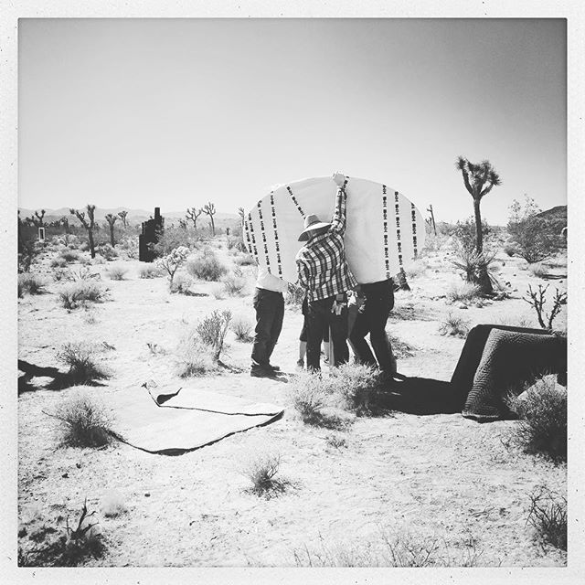 Install happening earlier today. #sarahvanderlip #sitespecificinstallation #roughplayprojects #joshuatree @sugarjarvacancy #ailischmeltz and #stefanieschneider installation in background - #availabletoall site path will also be open to the public on #earthday2018 featuring @adambergartist @kellanbarnebeyking @kasinfinite @ailischmeltz @instantdreams