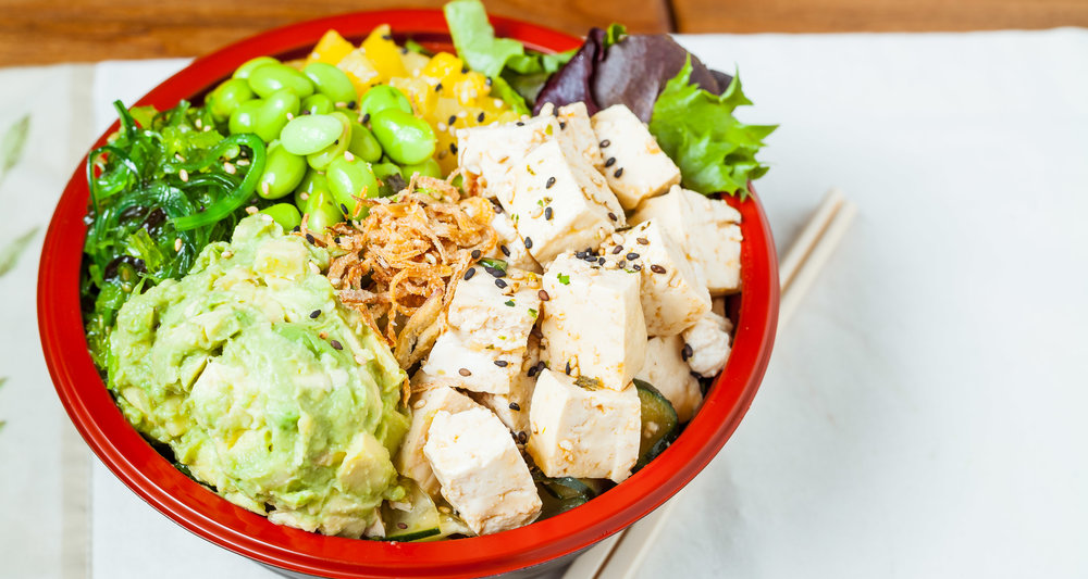 Spoonfish Signature Bowl -  Tofucado Vegan : Organic Tofu, Avocado, Spoonfish Signature Sauce, Pineapple, Edamame, Seaweed Salad, Pineapple, Green & White Onion, Cucumber, Furikake, Crispy Onion.