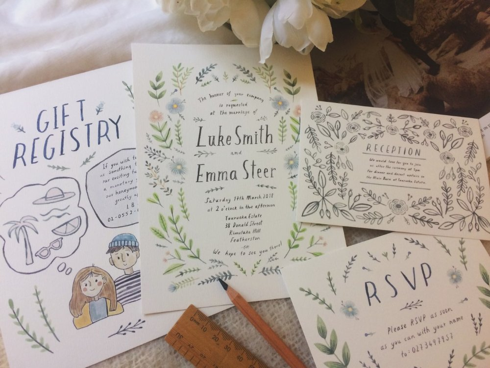 Photo: Emma's prints of their wedding invitations