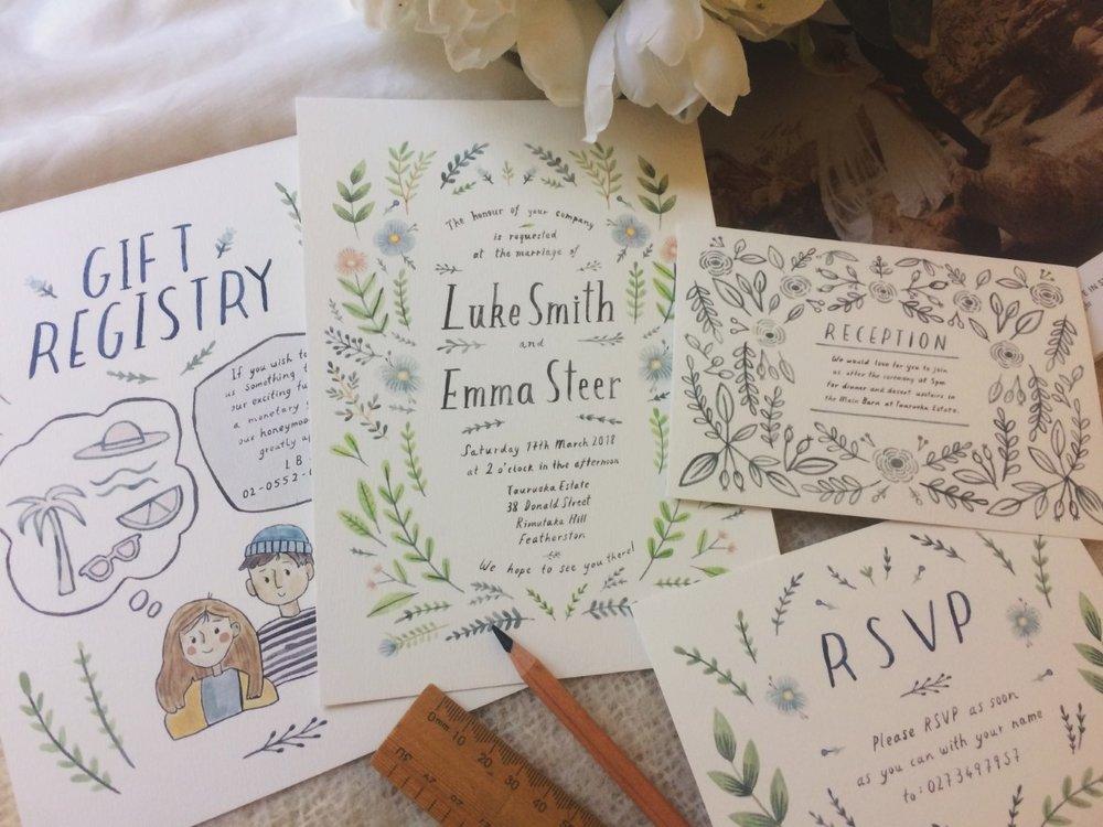 Photo: Emma's prints of their wedding invitations