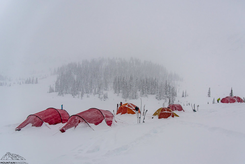 Our basecamp with a fresh coat of snow.