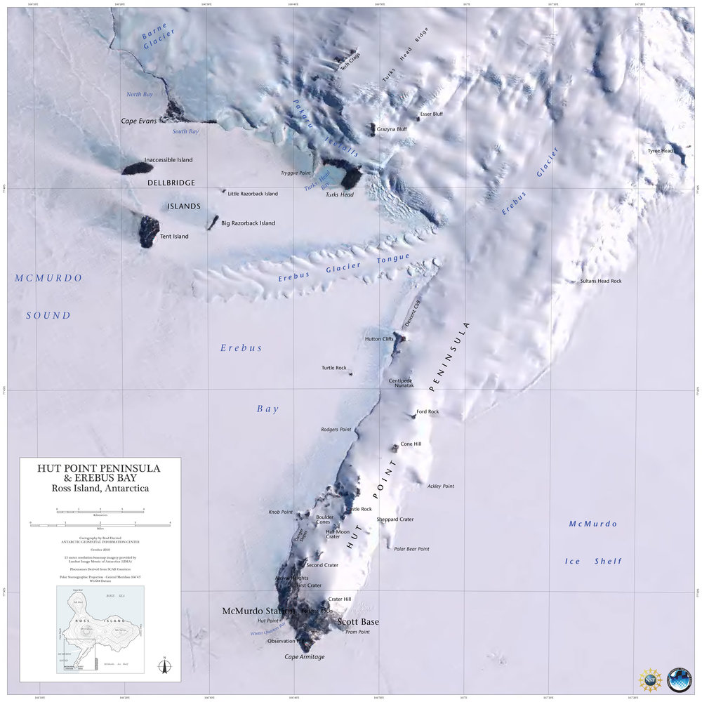 Hut Point Peninsula & Erebus Bay, Ross Island, Antarctica by Brad Herried, Polar Geospatial Center
