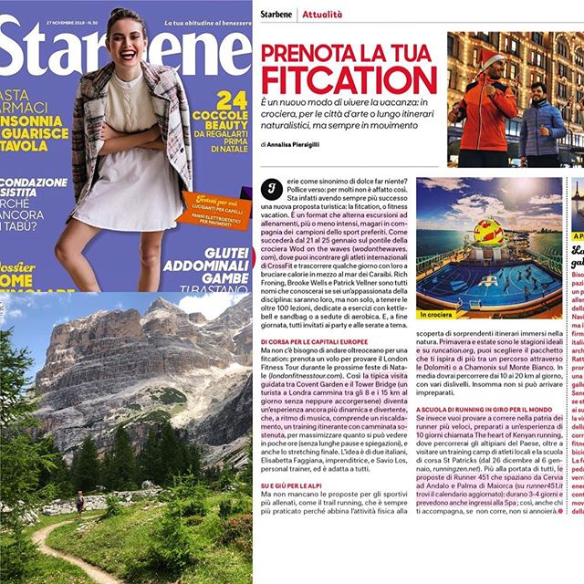 SU E GIÙ PER LE ALPI// UP AND DOWN THE ALPS  Awesome article in the latest issue of the Italian mag @starbeneofficial on choosing a Fitcation, featuring trail running in the Dolomites and Chamonix Mont Blanc with @runcationtravel ! Makes us want to sign up for all the trips listed. 🤗 Grazie a Starbene!  #runcation #runcationtravel #fitcation #starbene #donnamoderna #trailrunning #alps #dolomites #trailrunningvacations #ciao