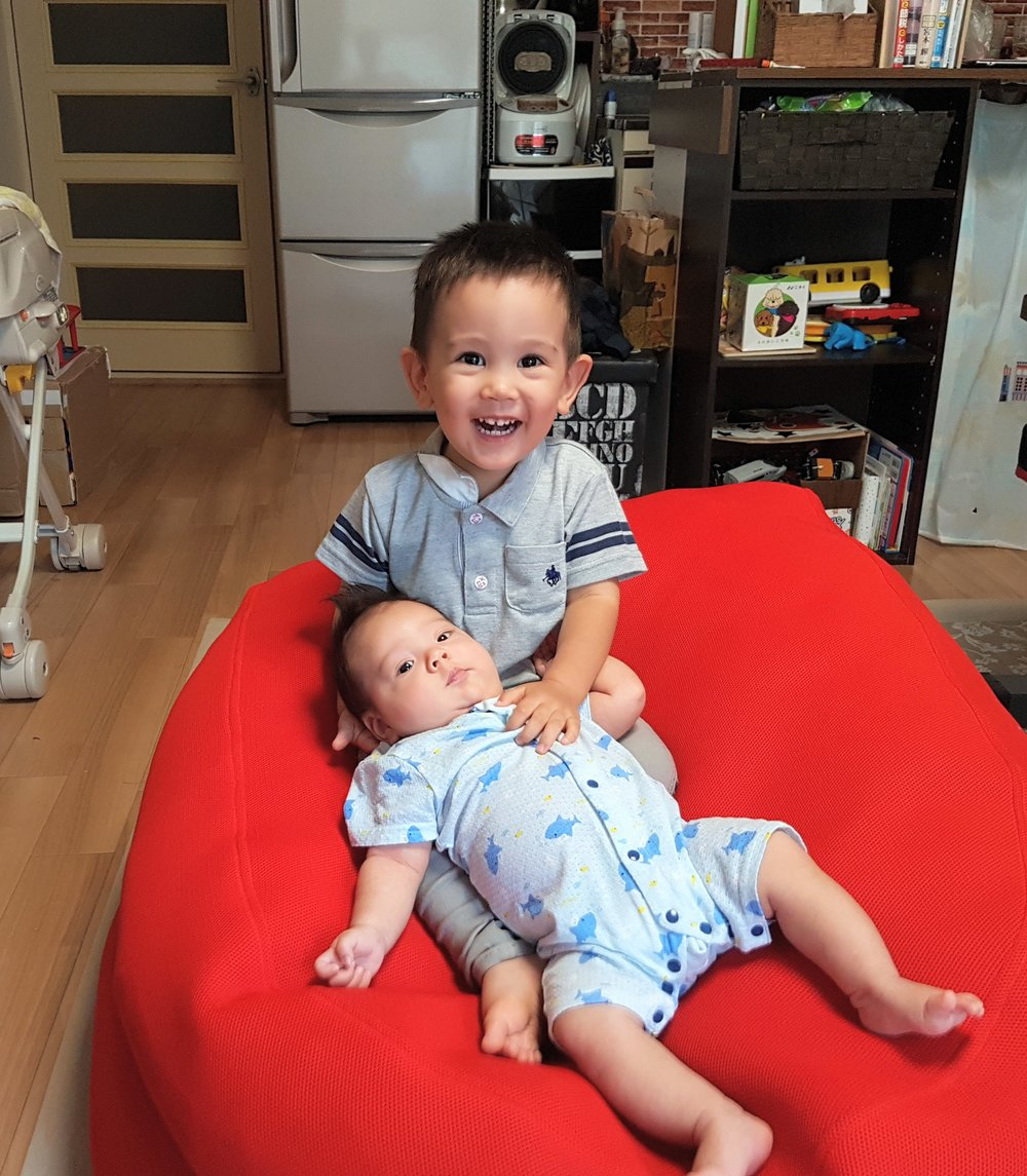 Family - This is a photo of my two sons, Kai and Harley. They are amazing, and they both bring so much joy and purpose to my life. We all live in Osaka together, and with some help from my wife and myself, they should grow up to be fully fluent in both English and Japanese.
