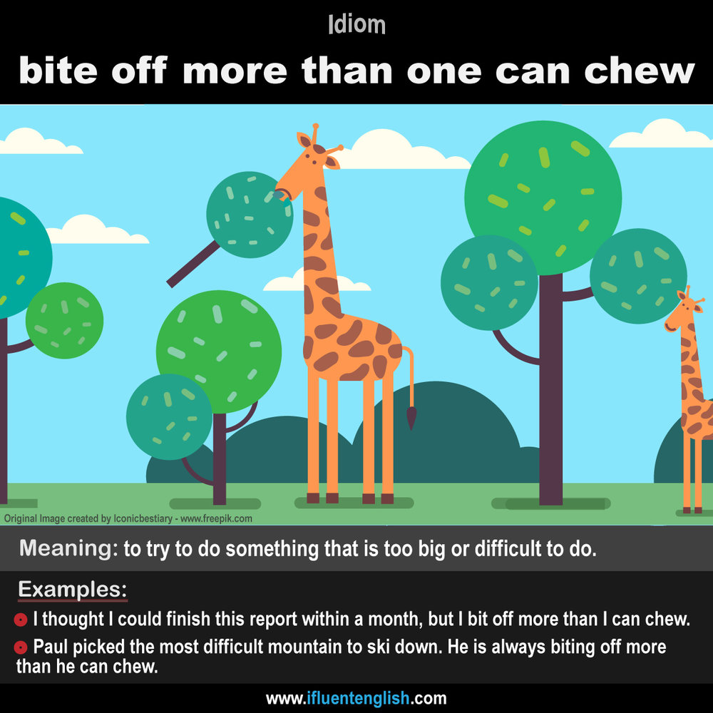 Idiom- bite off more than one can chew