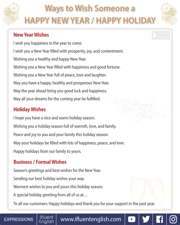 Ways to wish someone a happy new year or a happy holiday useful ways to wish someone a happy new year or happy holiday for friends family m4hsunfo