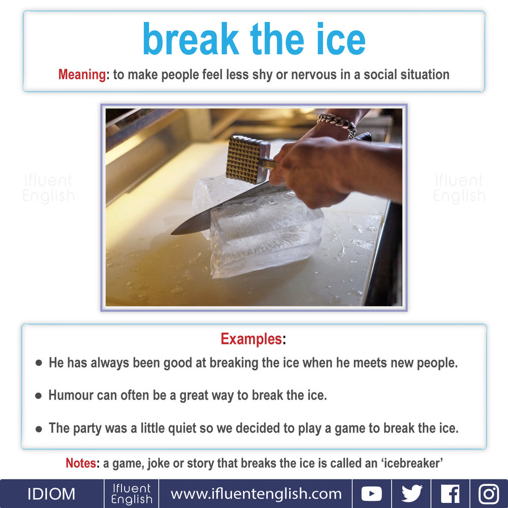 IDIOM - Break The Ice  Meaning: to make people feel less shy or nervous in a social situation