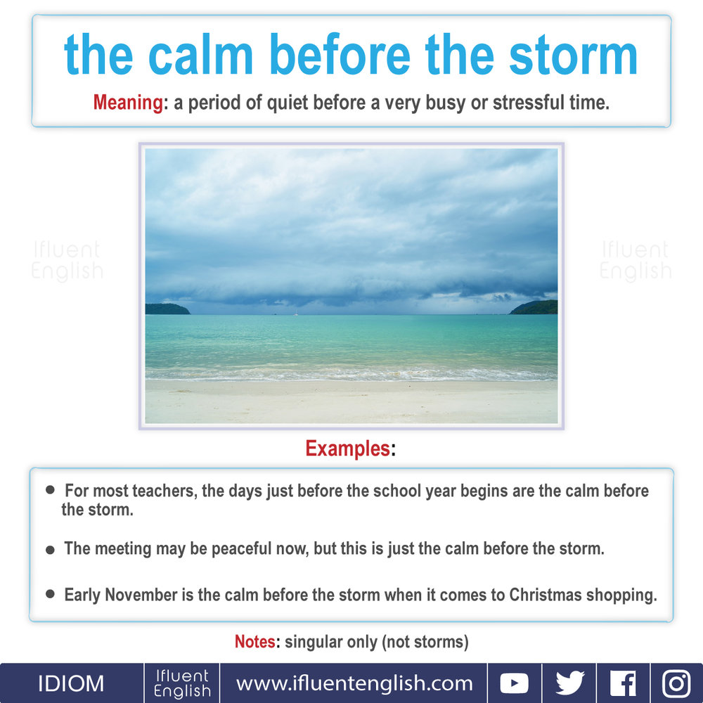 Idiom - the calm before the storm  Meaning - a period of quiet before a very busy or stressful time.