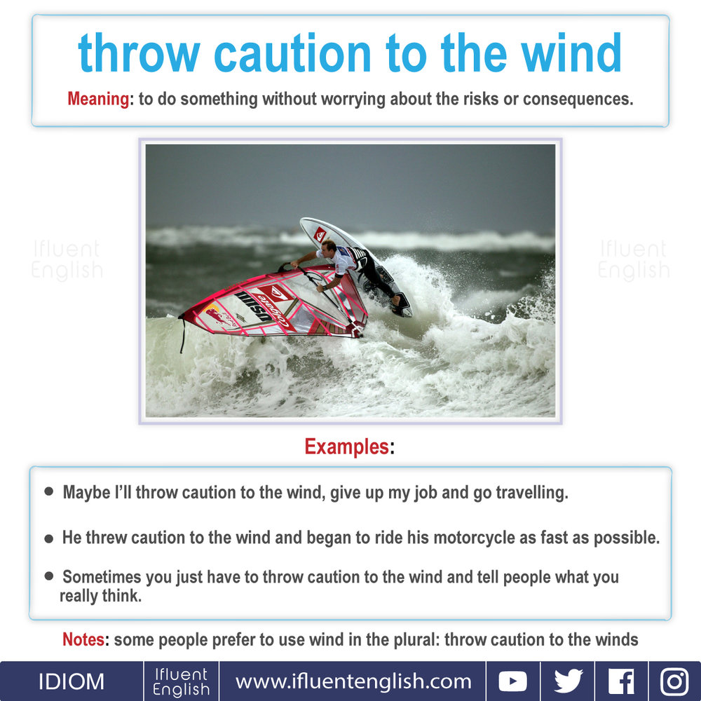 Idiom - throw caution to the wind  Meaning - to do something without worrying about the risks or consequences.