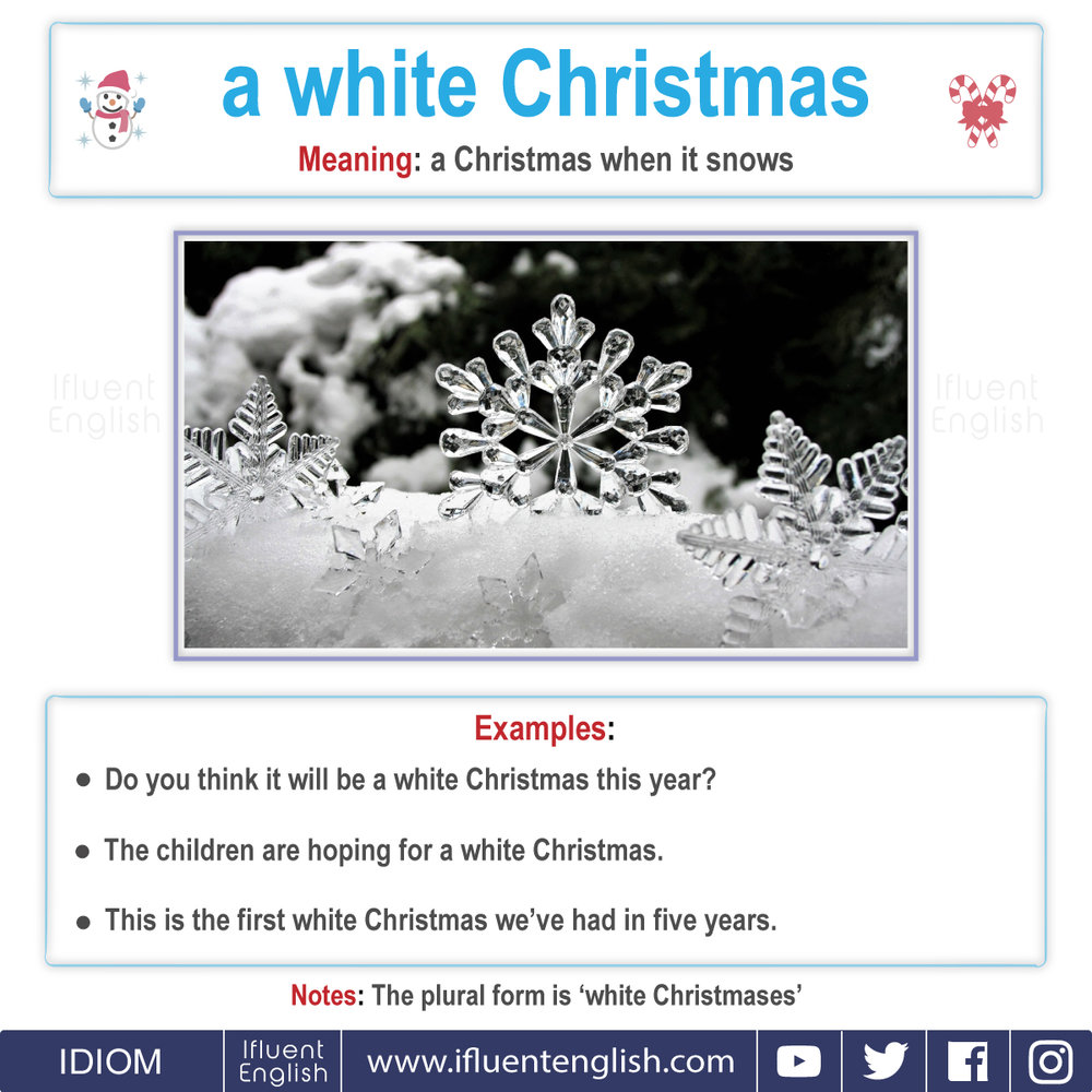 Idiom - a white christmas  Meaning - a Christmas when it snows.