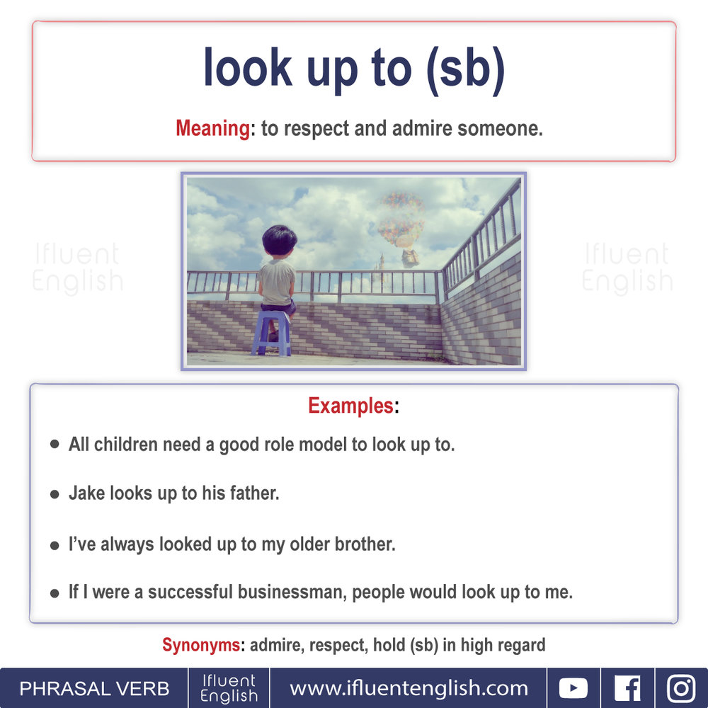 Phrasal Verb - Look up to somebody  Meaning - to respect and admire someone
