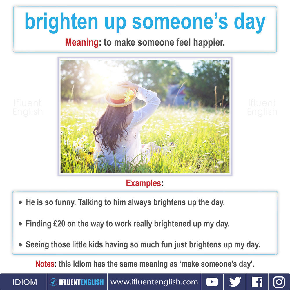 Idiom - Brighten up someone's day  Meaning - to make someone feel happier.