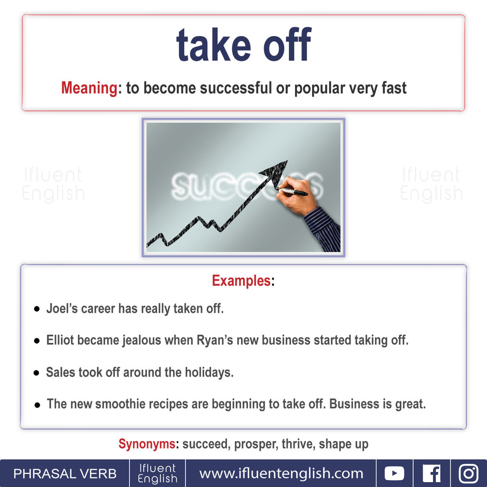 Phrasal Verb- Take off  Meaning - to become successful or popular very fast