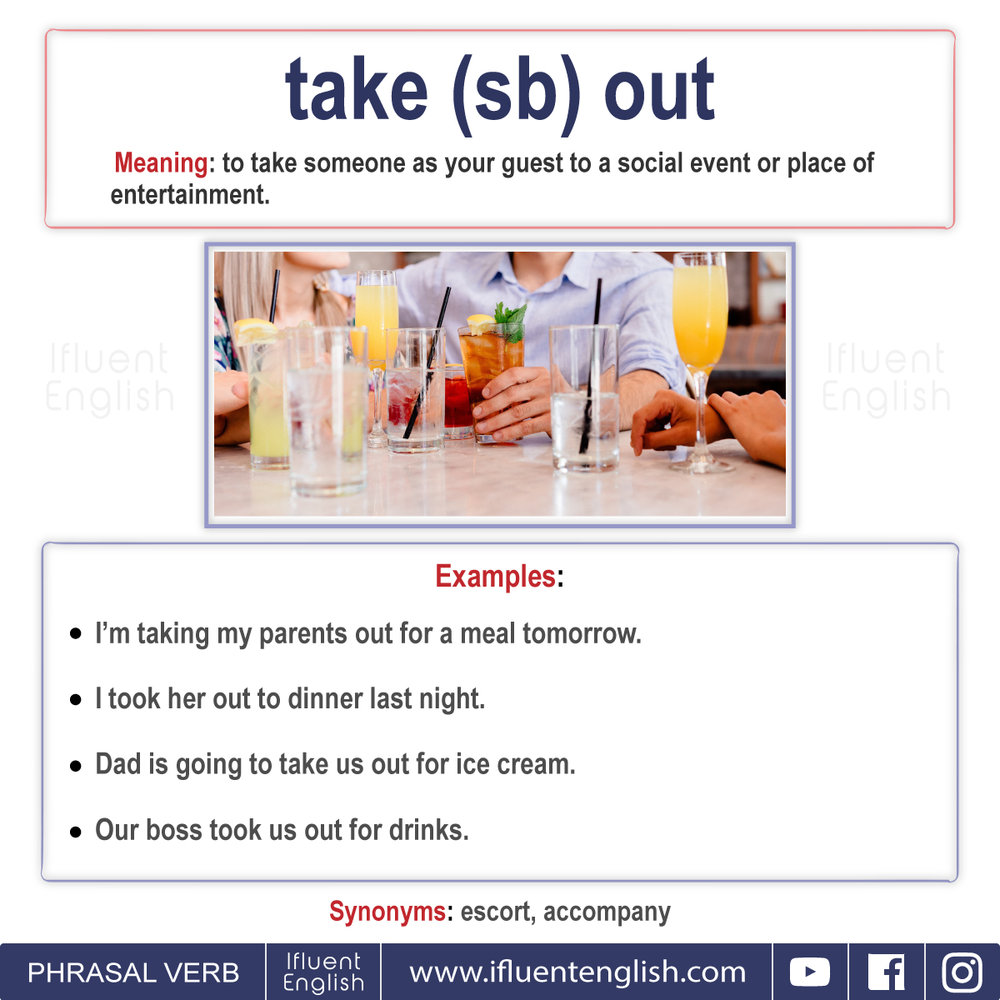 Phrasal Verb - Take somebody out  Meaning - to take someone out as your guest to a social event or place of entertainment
