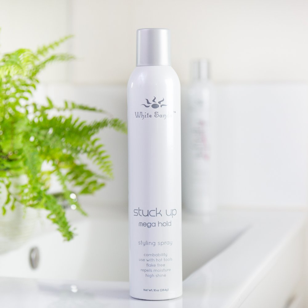 Stuck Up Hair Spray Mega Hold - Stuck Up Mega hold hairspray is the first mega hold of its kind providing maximum hold, volume, thermal intelligence, and the ability to comb through the hair. Stuck Up's holding power is second to none with the individual determining volume control. What makes Stuck-Up so unique is its thermal intelligence - this hairspray is ideal for use with any hot tool. In fact, the more heat administered, the shinier the hair becomes!284g