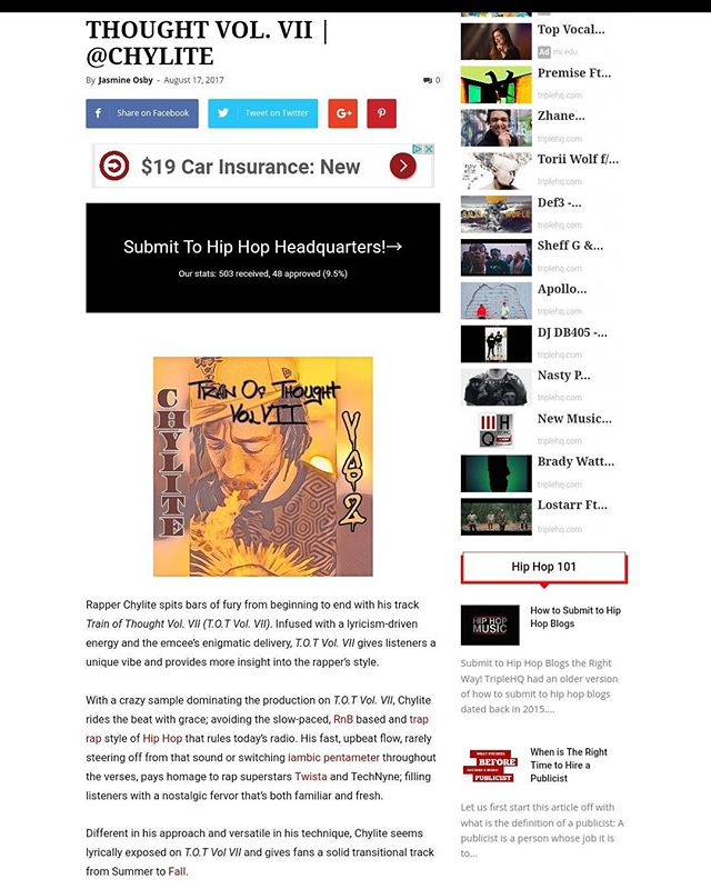 """Be sure to check the review from @triplehq for """"Train Of Thought Vol. VII"""". We just out here tryna stay busy is all. And the word IS spreading. #UCiT ... ... ... ... ... ... ... ... #WeWorking #Blogger #Blog #Views #Review #Opinions #hiphopblogger #Music #MusicVideo #YouTube #MyMixtapez #AudioMack #DatPiff #Spinrilla #Song #SongWriter #SongWriting #Producer #Beats #Bet #Mtv #Power #WorldStar #Lyrics"""