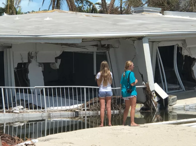 Major home damage in Islamorada, Florida from Hurricane Irma.  Source: M. Seota, Getty Images