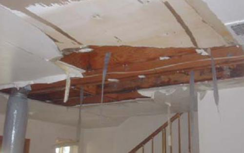 Holden, ma area ice dam / ceiling leak damage insurance claim.