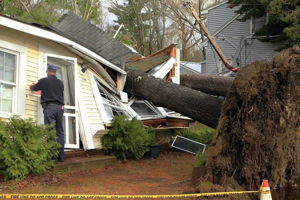 Freetown, ma area major structural house damagewind storm roof damage insurance claim.
