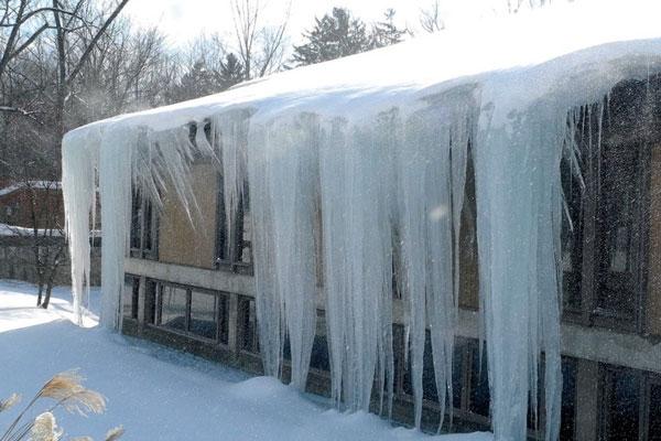 Newbury, ma insurance claim major ice damage from winter storm.