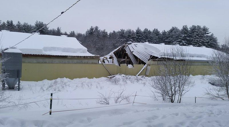 Peabody, ma insurance claim on structural major roof damage from winter snow storm.