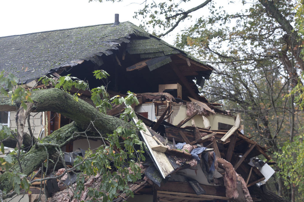 Rockport, ma insurance claim on structural major roof damage from wind storm.