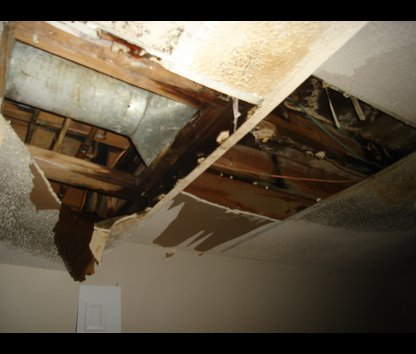 Wakefield, ma insurance claim for ice dam / ceiling leak damage from winter storm.