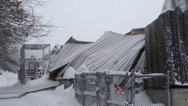 West Newbury, ma insurance claim for roof collapse from winter storm.