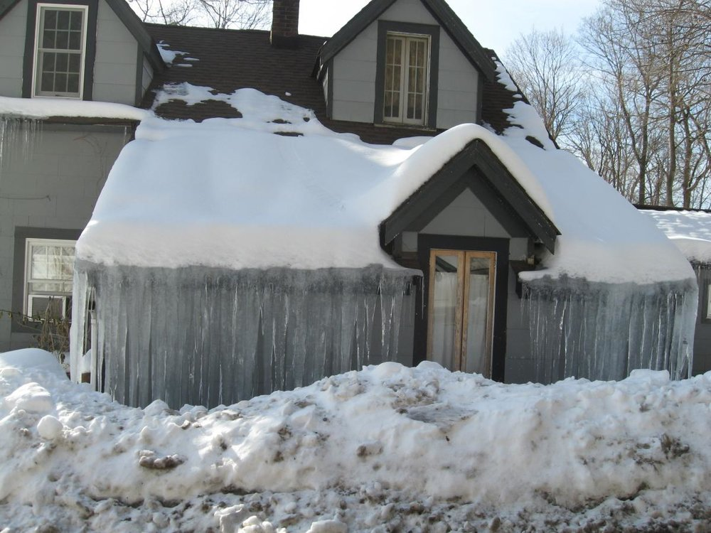 recent North Kingston, RI winter storm ice dam insurance claim.