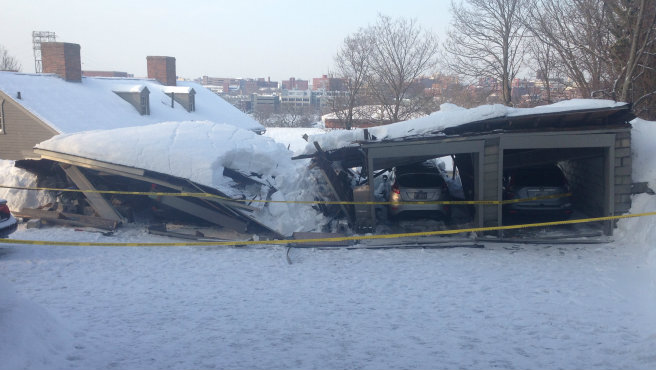 recent Warwick, RI winter storm structural roof collapse Insurance claim.