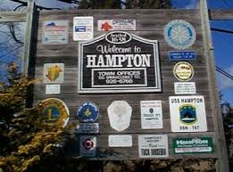 welcome to hampton, NH town offices sign.