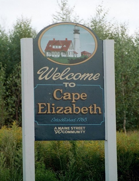 cape elizabeth, maine welcome sign.