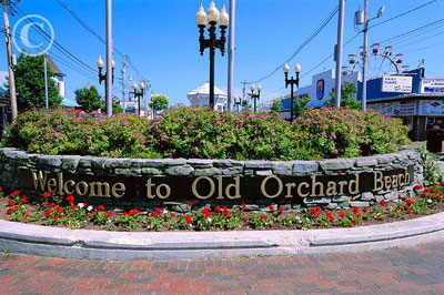 Old Orchard Beach, maine welcome sign.