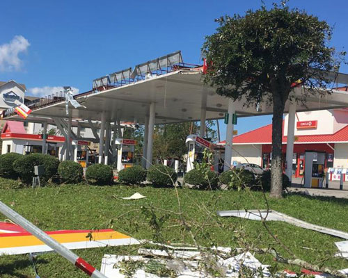 Marianna, FL business wind damage and commercial interruption insurance claim.